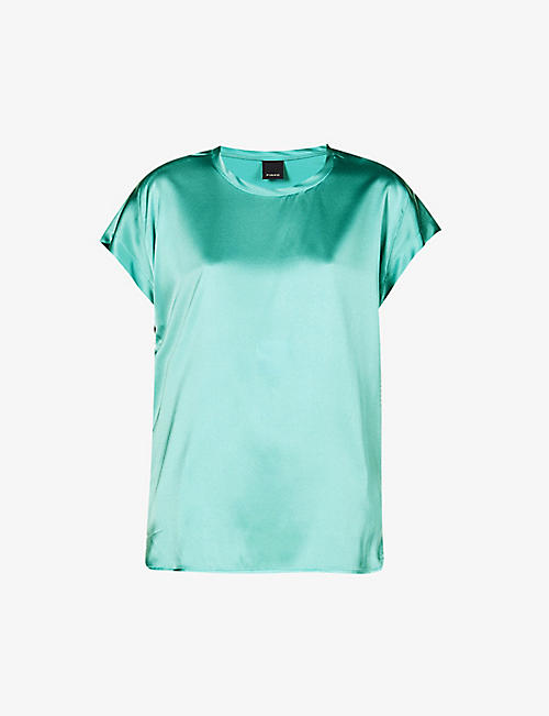 PINKO: Farida relaxed-fit stretch-silk top