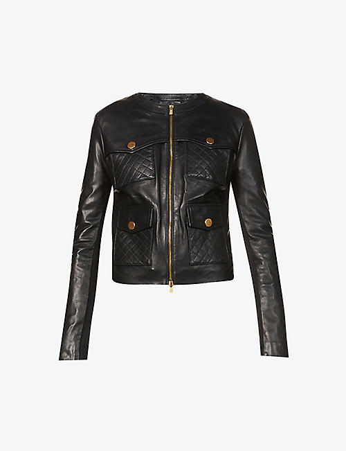 PINKO: Ottuso regular-fit quilted leather jacket