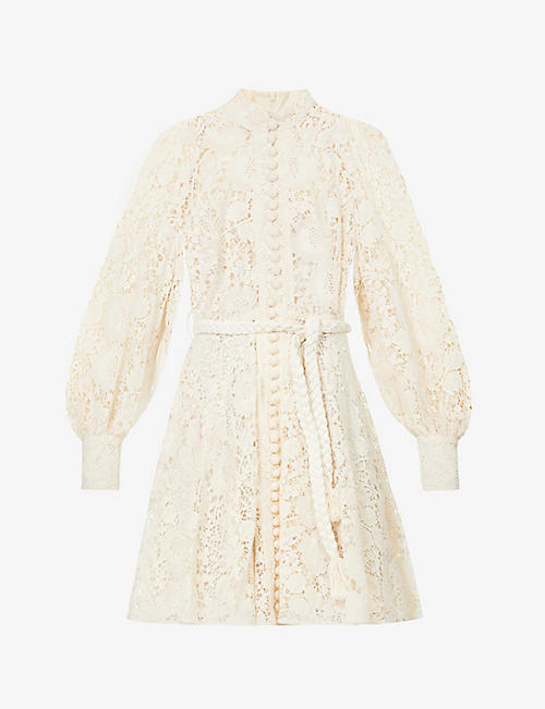 ZIMMERMANN: Cassia puff-sleeved cotton-lace mini dress