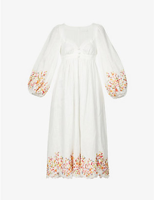 ZIMMERMANN: Mae floral-embroidered linen midi dress