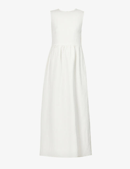 GIULIVA HERITAGE: Filomena sleeveless linen and silk-blend midi dress
