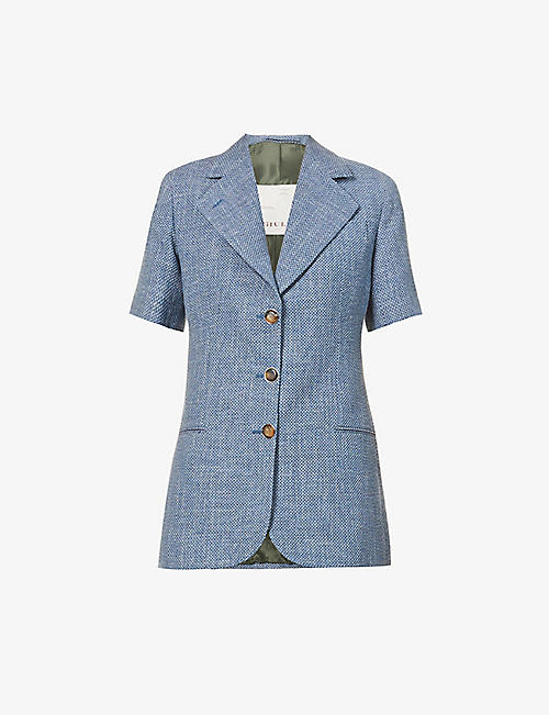 GIULIVA HERITAGE: Ginestra short-sleeve wool, cotton and linen-blend jacket
