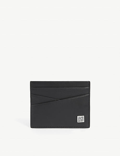 BOSS: Logo-plaque leather card holder