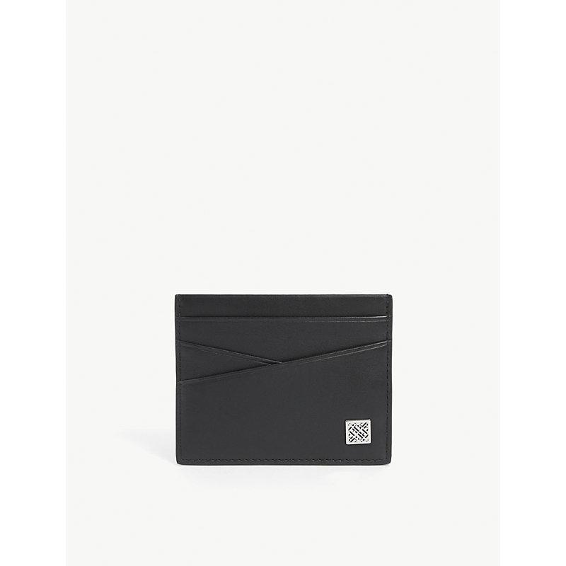 Logo-plaque leather card holder