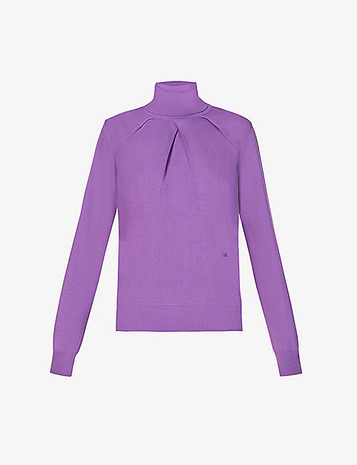 VICTORIA BECKHAM: Pleated turtleneck knitted jumper
