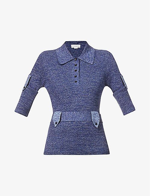 VICTORIA BECKHAM: Ribbed cotton-knit polo top
