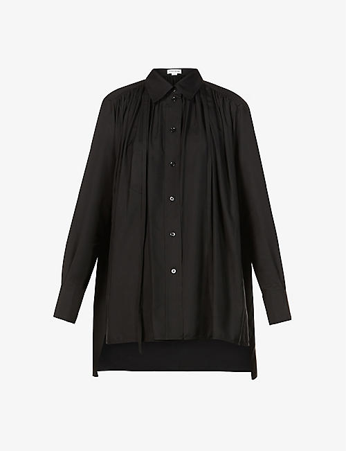 VICTORIA BECKHAM: Gathered tie-neck silk shirt