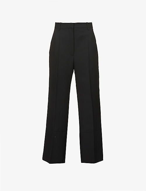 VICTORIA BECKHAM: Split-hem straight-leg high-rise wool-twill trousers