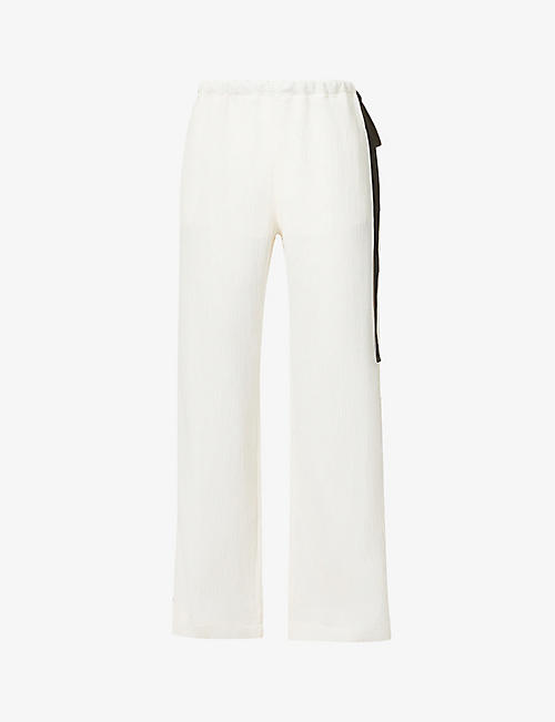 VICTORIA VICTORIA BECKHAM: Straight-leg high-rise crepe trousers