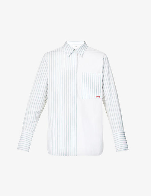 VICTORIA VICTORIA BECKHAM: Patchwork striped cotton-poplin shirt
