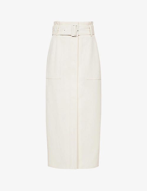 REISS: Luno belted stretch-woven midi skirt