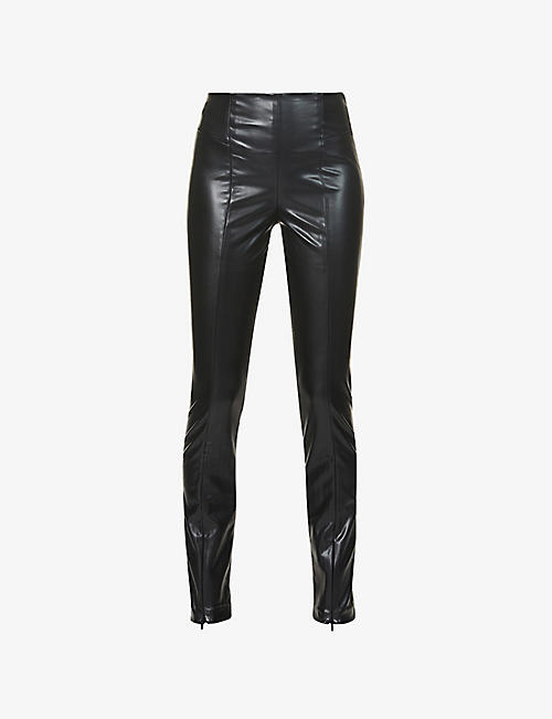 GOOD AMERICAN: Like Boss tapered high-rise faux-leather trousers