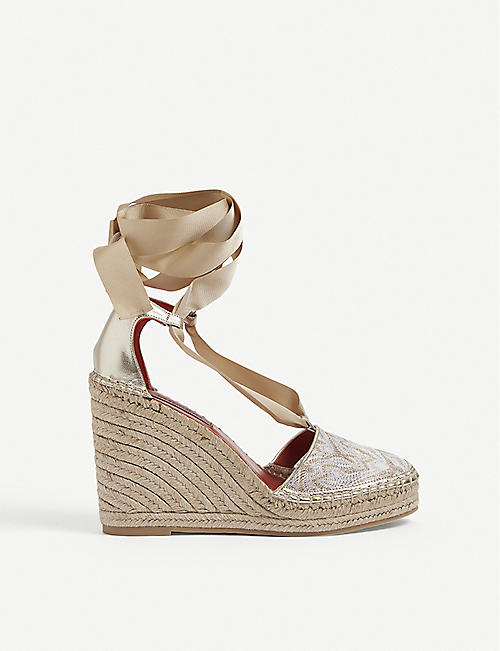 MISSONI: Graphic-print wedge-heeled woven espadrilles