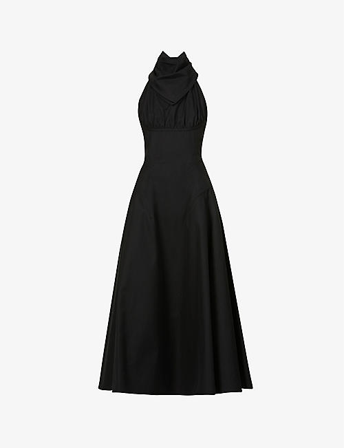 BOTTEGA VENETA: Scarf-neck cotton-twill midi dress