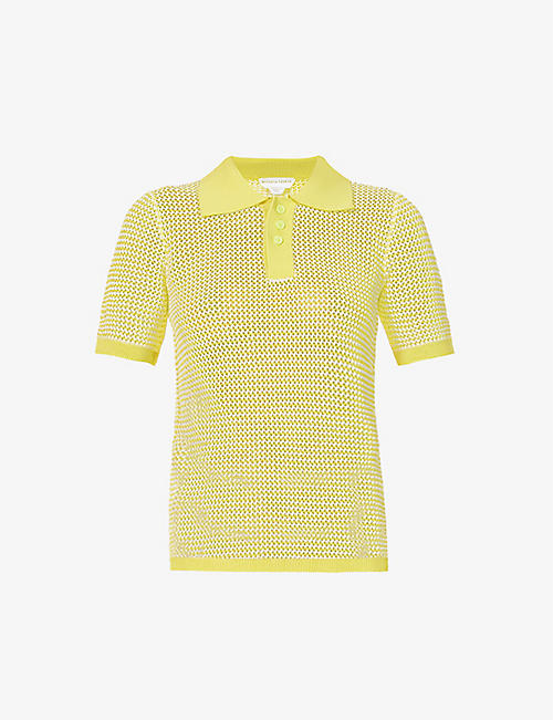 BOTTEGA VENETA: Open-weave cotton-blend polo shirt