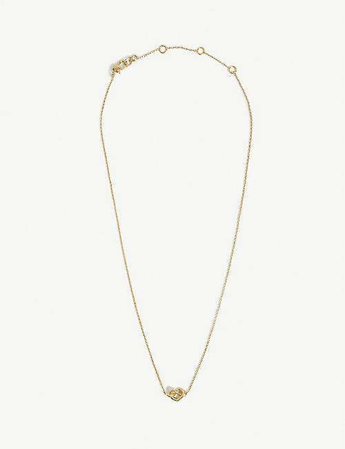 KATE SPADE NEW YORK: Loves Me Knot gold-toned pendant necklace