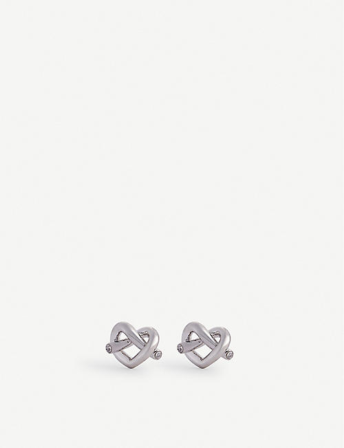 KATE SPADE NEW YORK: Loves Me Knot silver-toned stud earrings