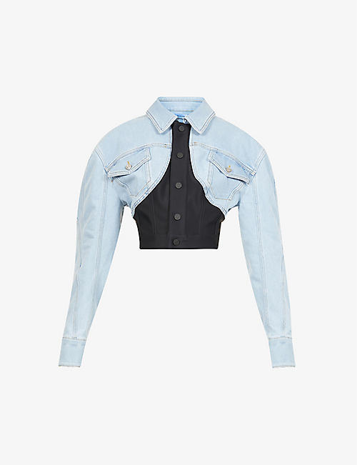 MUGLER: Contrast-panel cotton-blend denim jacket