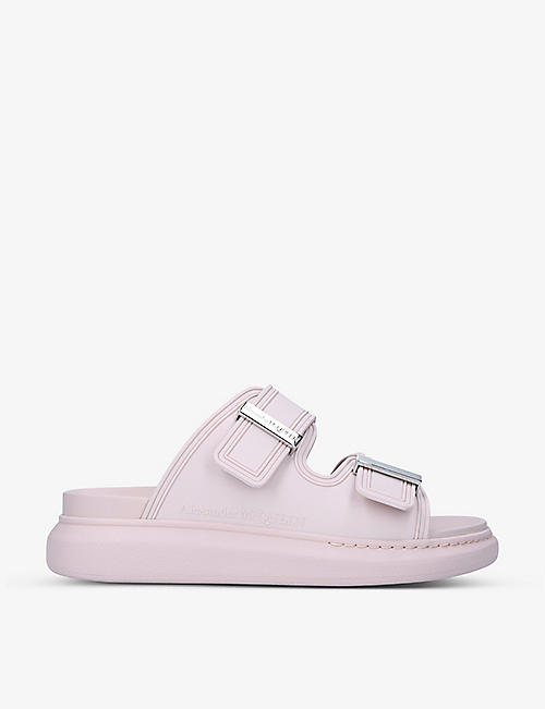 ALEXANDER MCQUEEN: Hybrid double buckle leather slides