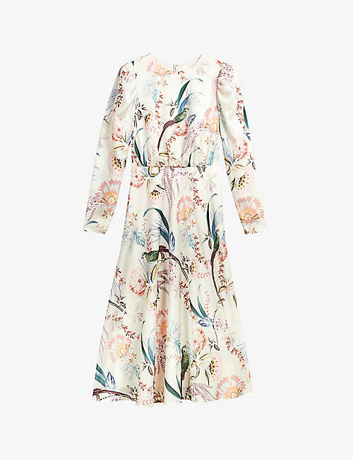 TED BAKER: Edreana floral-print stretch-satin midi dress