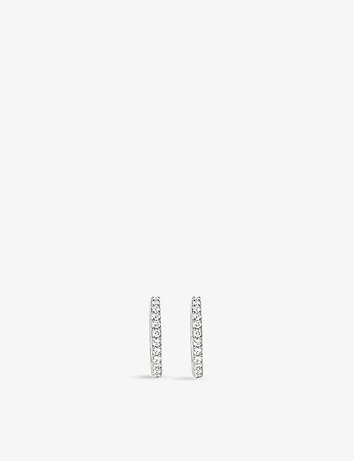 EDGE OF EMBER: Pave 14ct recycled white gold and 0.12ct diamond hoop earrings