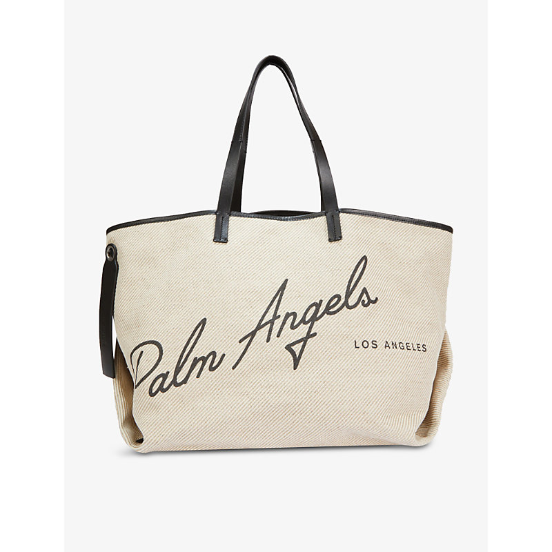 Palm Angels LOGO-PRINT COTTON AND LINEN-BLEND TOTE BAG