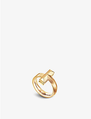 TIFFANY & CO: Tiffany T T1 Wide 18ct yellow-gold ring