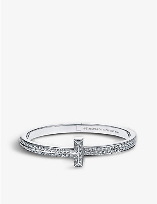 TIFFANY & CO: T1 18ct white-gold and 4.37ct diamond large bracelet
