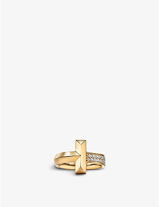 TIFFANY & CO: Tiffany T T1 Wide 18ct yellow-gold and 0.21ct diamond ring