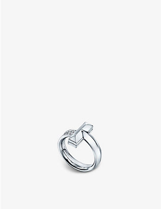 TIFFANY & CO: Tiffany T T1 Wide 18ct white-gold and 0.21ct diamond ring