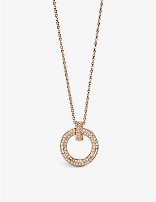 TIFFANY & CO: T1 18ct rose-gold and diamond pendant necklace