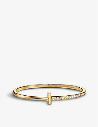 TIFFANY & CO: T1 Narrow 18ct yellow gold and 1ct diamond bracelet