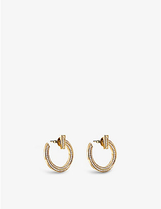 TIFFANY & CO: Tiffany T T1 18ct-gold and 0.48ct round brilliant-cut diamond hoop earrings