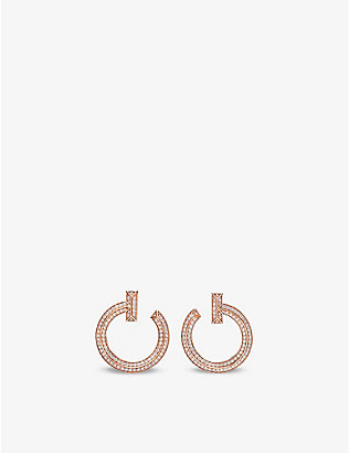TIFFANY & CO: T1 18ct rose-gold and 0.48ct diamond earrings