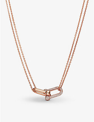 TIFFANY & CO: Tiffany City HardWear 18ct rose-gold and 0.74ct pavé diamonds double-link pendant necklace