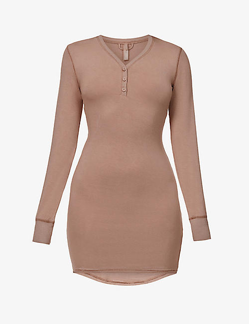SKIMS: Sleep Henley stretch-jersey nightdress