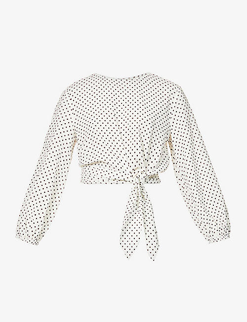 PEONY: Biscotti polka-dot organic cotton-blend blouse