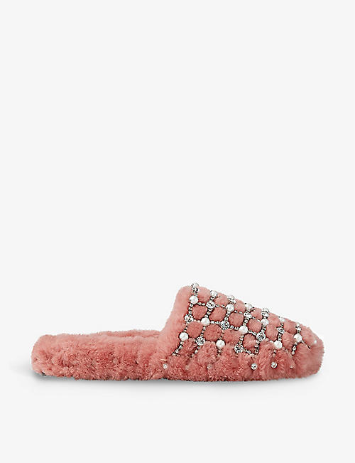 JIMMY CHOO: Aliette faux-pearl and crystal-embellished shearling mules