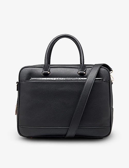 DUNE: Zipped faux-leather laptop bag with detachable pouch