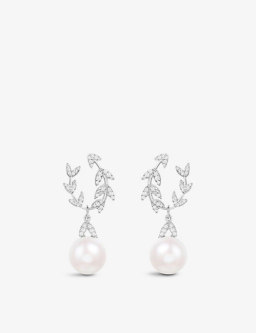 APM MONACO: Eternelles sterling silver and pearl drop earrings