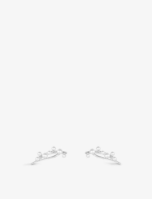 APM MONACO: Eden sterling silver and pearl climber earrings