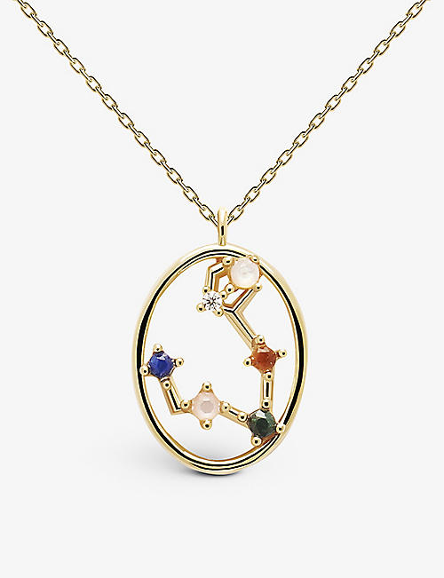 PD PAOLA: Zodiac Pisces 18ct gold-plated sterling silver and gemstone necklace