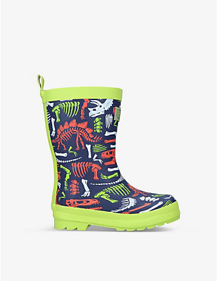 HATLEY: Dino Fossils logo-embossed rubber wellington boots 3-8 years