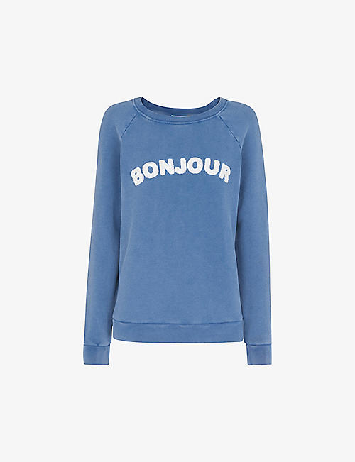 WHISTLES: Bonjour embroidered cotton jumper