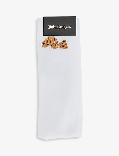PALM ANGELS: Bear-embroidered stretch-woven socks