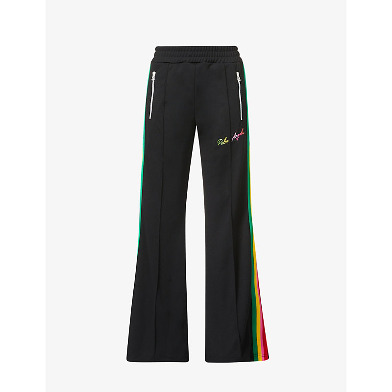 Palm Angels Miami Flared High-rise Jersey Jogging Bottoms In Black Multic