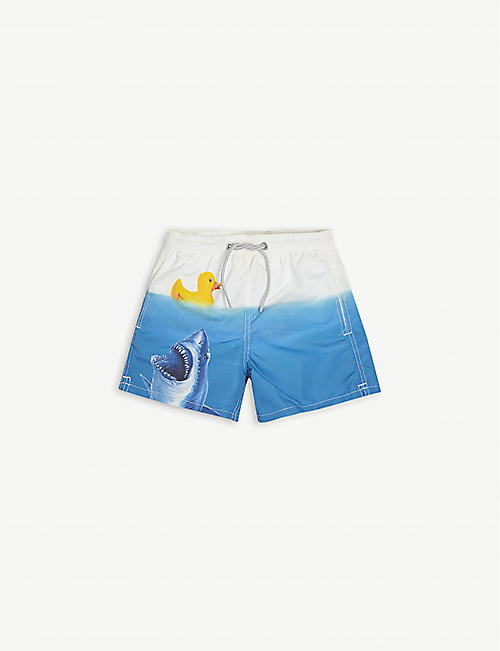 MC2 SAINT BARTH: Shark-print woven swim shorts 4-14 years