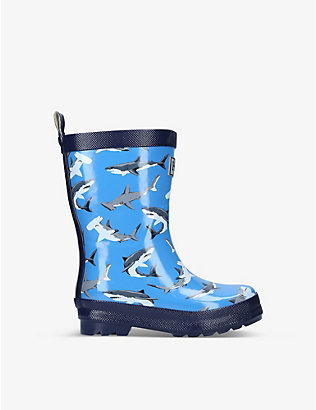 HATLEY: Deep Sea Sharks logo-embossed rubber wellington boots 6 months -7 years