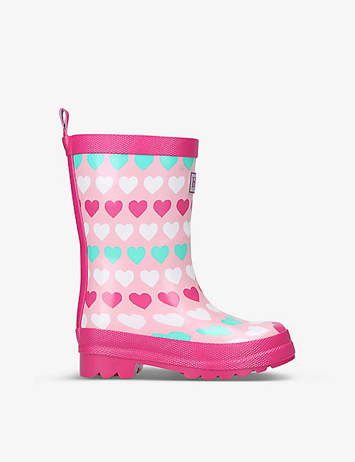 HATLEY: Hearts logo-embossed rubber wellington boots 6 months - 7 years