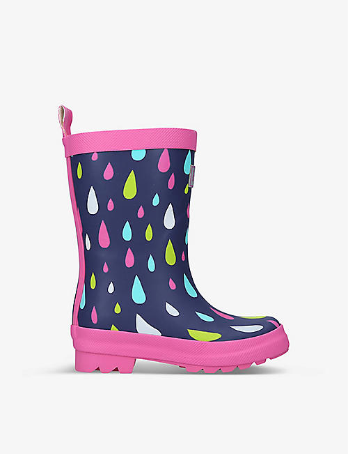 HATLEY: Rain Drops logo-embossed rubber wellington boots 6 months - 7 years